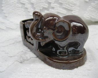 Occupied Japan Shiny Brown Elephant Ashtray Set