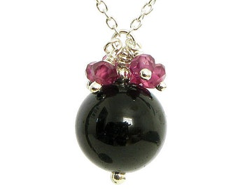 Black Tourmaline Necklace with Garnets and Sterling Silver - Black and Pink Pendant - Black Tourmaline Pendant, Handmade Tourmaline Necklace