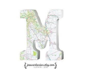 Custom Map Wood Wedding Letter 9 x 6in