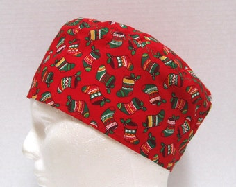 Mens Red Christmas Scrub Cap or Surgical Cap with Colorful Christmas Stockings