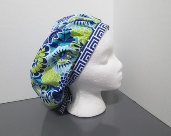 Royal Blue Floral with Coordinating Royal Blue and White Geometric Bouffant Surgical Scrub Cap