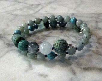 Natural Turquoise Stone and Crystal Throat Chakra Healing Bracelet