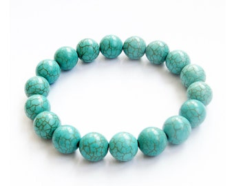 10mm Imitate Howlite Turquoise Round Prayer Beads Stretchy Charm Bracelet  T3048