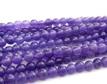 4mm One Strand Purple Jade Gemstone Beads/About 90Pieces/370mm In Length  ja574