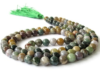 Tibet Buddhist 108 India Agate Gem Gemstone Meditation Yoga Prayer Beads Mala Necklace  ZZ095  8mm