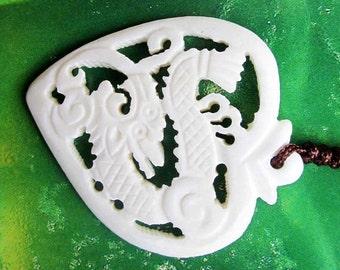 White Ox Bone Pendant Bead Carved Hollow Oriental Long Life Dragon Heart Amulet Talisman 38mm x 33mm  T2637