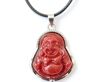 Imitated Red Coral Alloy Metal Frame Good Luck Buddha Amulet Talisman Charm Pendant 23mm x 20mm  T2867