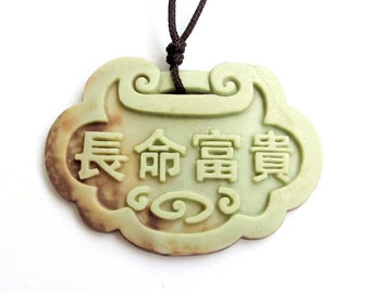 Aupicious Long Life Lock Word Chang-Ming-Fu-Gui Two Layer Natural Stone Pendant 44mm x 32mm  ZP035