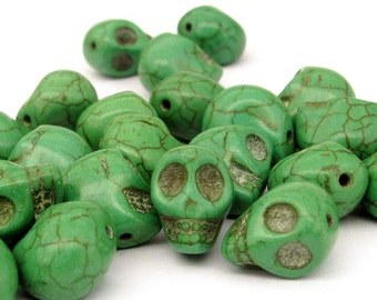 40Pieces Imitate Green Turquoise Skull Loose Beads DIY Accessories Finding--13mm x 12mm x 10mm  ja551