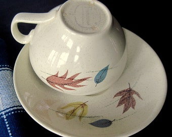 Franciscan Autumn,  Cup and Saucer,  Autumn Cup Saucer, Autumn Franciscan, French Farmhouse, Mid Century Dishes, Franciscan Dishes, Leaves