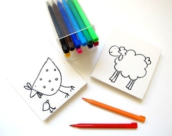 DIY kids mini canvas coloring kit- sheep and chicken, children canvas kit project, kids DIY craft activity, children decor