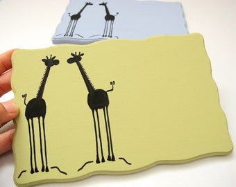Personalized Door sign-Two Giraffes, green and black sign for kids room, family front door sign, couple sign, students sign