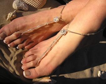 Crystal Barefoot Sandals Happi Feet Handmade Pair Nude Beach Wedding Shoes The Cassandra HF39
