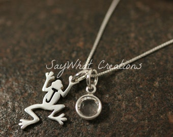 Sterling Silver Mini Initial Frog Necklace with birthstone and sterling silver tree frog charm