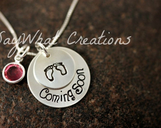 Custom Hand Stamped Sterling Silver 2 Disk Stacked Necklace for pregnant, expecting, maternity, mothers