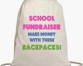 50 School Fundraiser Backpacks - Make money for your school - PTO-PTA - Cinch Sack