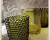 Vintage Olive Green Glass Votive Trio
