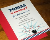 Bowling party : Birthday Invitations - Set of 12