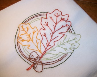 Dish Towel Flour Sack Tea Towel Oak Leaves Dish Towel Dish Drying Towel Fall Dish Towel