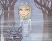 Alice, wonderland, magic, creepy, forest, fog, grey blue, cheshire, print