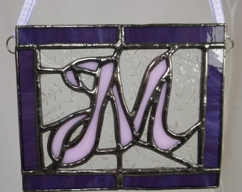 Stained Glass panel light catcher featuring an initial available for commissions