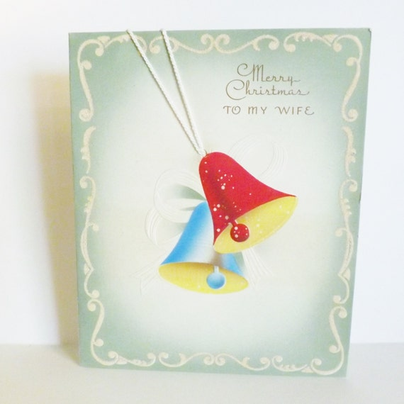 Items Similar To Vintage Merry Christmas To My Wife Card