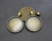 25mm blank pendant tray, 1 inch round pendant tray, circle pendant tray,  Antique brass bronze Pendant blanks 10 pcs