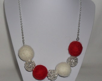 Red and cream felt ball necklace wire bead white