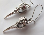 Big Bird Skull Earrings, Silver Tone or Brass tone, plague mask earrings