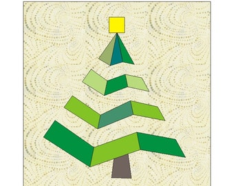 Christmas in July Tree Paper pieced quilt block  PDF Pattern INSTANT DOWNLOAD