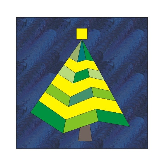 Paper Pieced Christmas Tree Pattern: Christmas In July Tree Paper Pieced Quilt Block PDF Pattern
