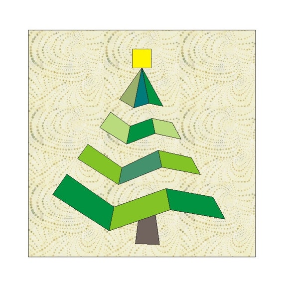 Christmas Tree Paper Piecing Patterns: Christmas In July Tree Paper Pieced Quilt Block PDF Pattern