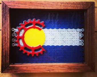 COLORADO - flag series of reclaimed bike chain