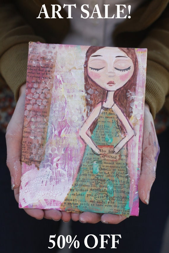 Big Eye Art - Girl Painting - Mixed Media Painting - Quotes - Small Painting - 5x7