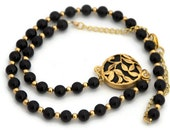 Statement Necklace Black and Gold jewelry toronto canada - Ahkriti