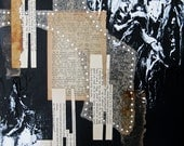 black and white mixed media abstract painting.  countdown to eternity.