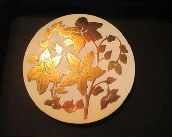 Radiantly Lovely WHITE ENAMEL & BRASS Rex Fifth Avenue Art Deco Vintage Compact -  1930's/1940's - Never Used