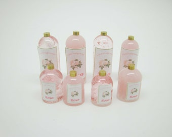 Miniature dollhouse kit eight bottles for perfumes and bath