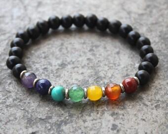 Ebony and multicolor gemstones chakra mala bracelet