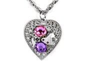 Steampunk Jewelry Necklace Vintage SEIKO Watch Silver Filigree HEART Pink Lilac Crystal Wedding Anniversary - Jewelry by Steampunk Boutique