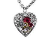 Custom listing for TC...Steampunk Jewelry Necklace Vintage Watch Silver Filigree HEART RED Crystals Ruby Mother Gift - by Steampunk Boutique
