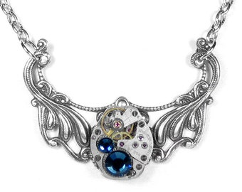 Womens Steampunk Necklace Vintage Ruby Watch Neo Victorian Silver Filigree Blue Crystal Wedding Holiday Gift - Jewelry by Steampunk Boutique