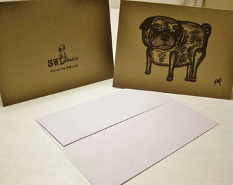 Vintage Style Pug Notecards: 6 Brown Folded Blank Cards and 6 White Envelopes