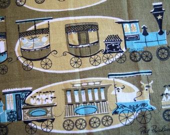Trains-o-plenty. Vtg Pat Prichard 1955 linen kitchen towel, great condition.