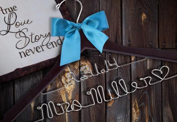 HUGE SALE Double Decker Personalized Wedding Hanger.  47 ribbon colors/Custom Bridal Hanger/Brides Hanger/Bride/Name Hanger