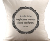 Coco Chanel Quote - Cushion/ Pillow Cover - 18x18 - 3 quotes available