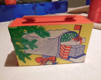 Vintage Christmas Paper Ephemera Box for Candy or Presents