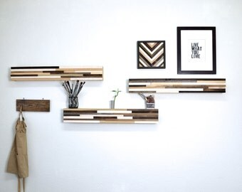 Wood Floating Shelf - Abstract Wood Blocks - Reclaimed Wood Shelf