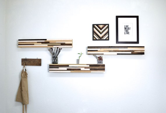 Reclaimed Wood Wall Art Shelf - Abstract Wood Blocks - Reclaimed Wood Shelf