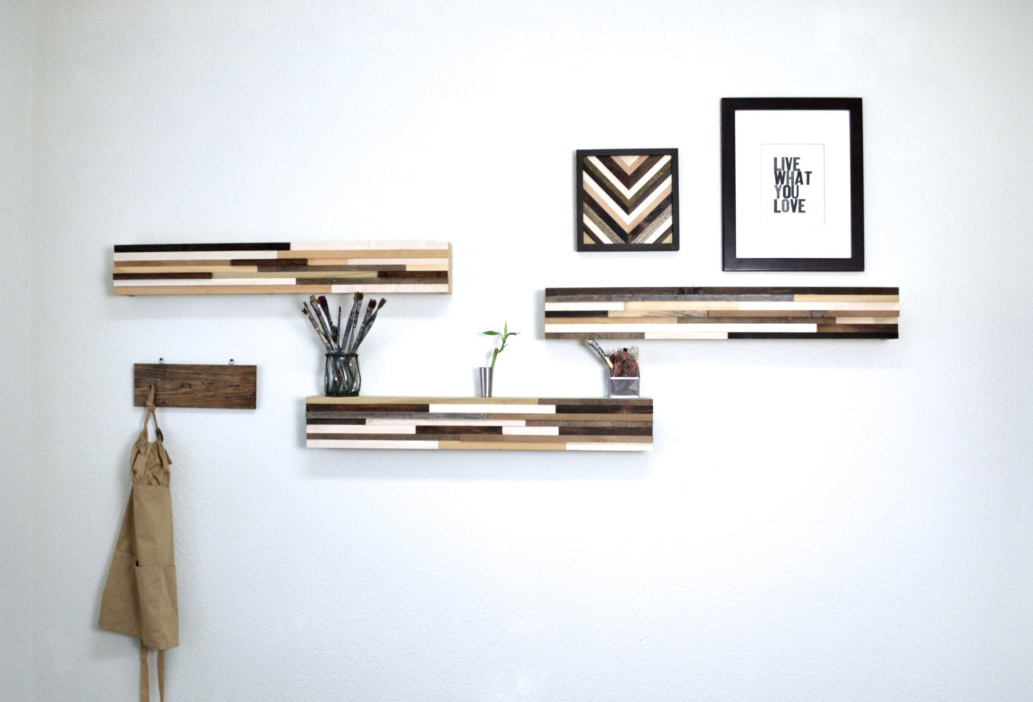 Wood Floating Shelf Abstract Wood Blocks Reclaimed Wood